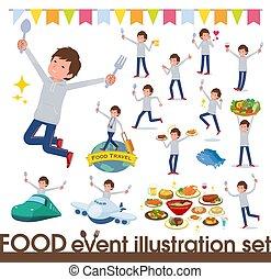 alimento, hombres, foodie, ropa de deporte, gris, fiesta, ...