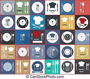 alimento, icon., servicio