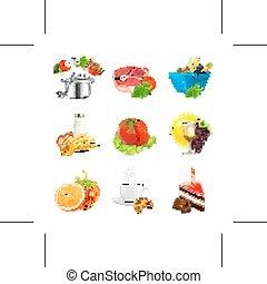 alimento, ilustração, ícones
