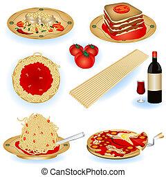alimento, ilustraciones, italiano