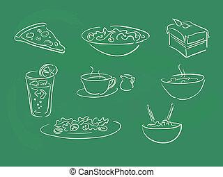 alimento, ilustraciones, pizarra