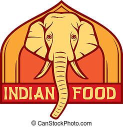 alimento, indianas, etiqueta, (design)