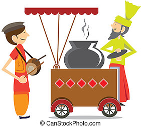 alimento, indian/pakistani, carrito