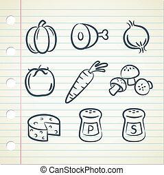 alimento, ingredientes, icono
