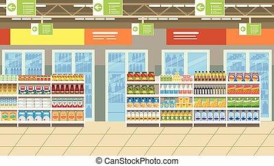 alimento, interior, vetorial, supermercado, prateleiras