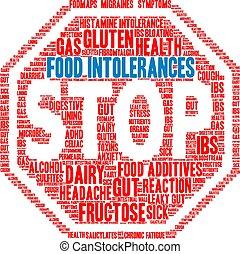 alimento, intolerances, palabra, nube