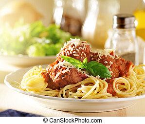 alimento italiano, -, espagueti y albóndigas