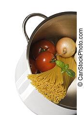 alimento italiano, espaguetis, ingredientes