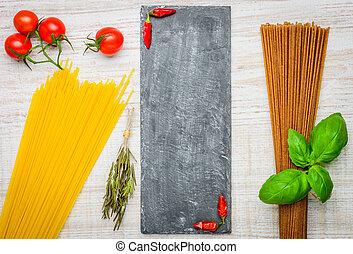 alimento italiano, espaguetis, pastas, texto, espacio