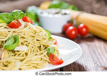 alimento italiano, (spaghetti, con, pesto)