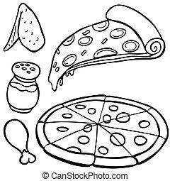 alimento, itens, linha arte, pizza