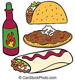 alimento, itens, mexicano