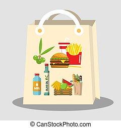 alimento, itens, saco shopping papel