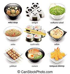 alimento, japão, vetorial, jogo, ícones