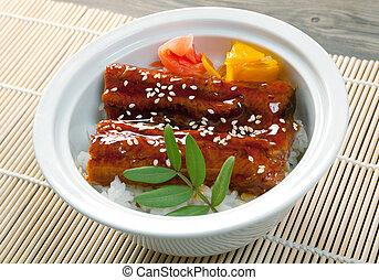 alimento, (, japonés, anguila, asado, unagi