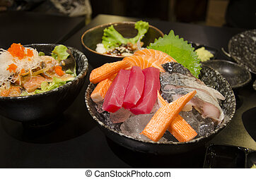 alimento japonês, sashimi, jogo