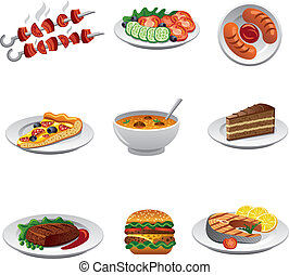 alimento, jogo, ícone
