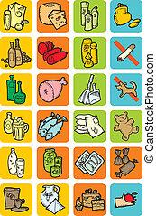 alimento, jogo, bebidas, ícones