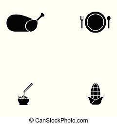 alimento, jogo, chinês, ícone