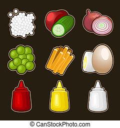 alimento, jogo, produtos, ícone