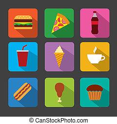 alimento, jogo, rapidamente, ícone