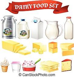 alimento, lechería, conjunto, productos