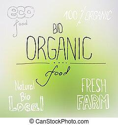 alimento, lettering, orgânica