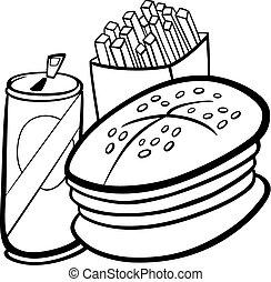 alimento, libro colorear, rápido, caricatura