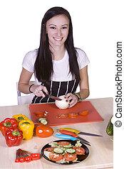 alimento, lindo, adolescente, preparando