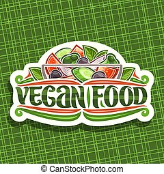 alimento, logotipo, vetorial, vegan