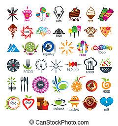 alimento, logotipos, vector, colección, más grande