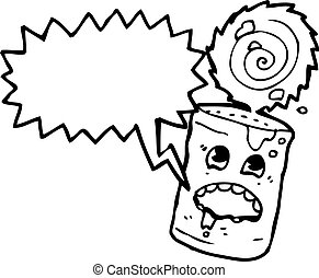 alimento, loucos, lata, caricatura