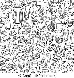 alimento, mão, cerveja, seamless, fundo, desenhado