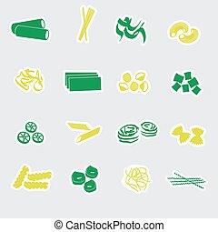 alimento, macarronada, adesivos, eps10, tipos