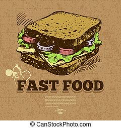 alimento, mano, rápido, menú, diseño, fondo., vendimia, illustration., dibujado