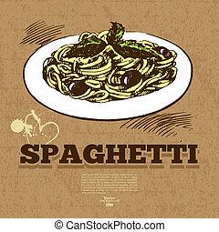 alimento, mano, rápido, menú, diseño, fondo., vendimia, ...