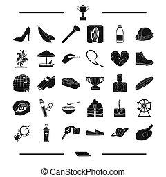 alimento, maquillaje, entretenimiento, y, otro, tela, icono, en, negro, style., embarazo, vegetal, medicina, iconos, en, conjunto, collection.