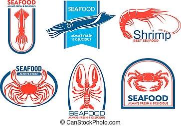 alimento, marisco, emblema, peixe, icons.