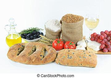 alimento, mediterráneo, crudo, products., aceituna, panes