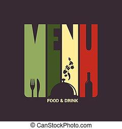 alimento, menú, bebida, etiqueta, diseño, plano de fondo