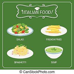 alimento, menú, fondo verde, italiano