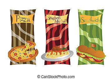 alimento, menú, italiano