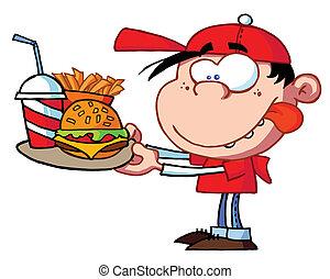 alimento, menino, comer, rapidamente