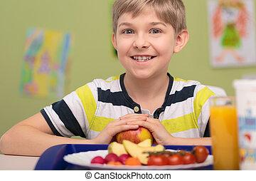 alimento, menino, prato