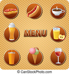 alimento, menu, bebidas