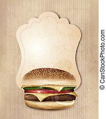 alimento, menu, burger., rapidamente, vetorial, ilustração, retro