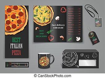 alimento, menu, café, pizza, folheto