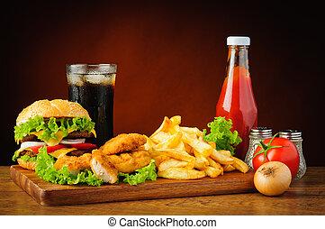 alimento, menu, com, hamburger, pepitas galinha, e, batatas...