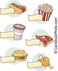 alimento, menu, elementos, rapidamente