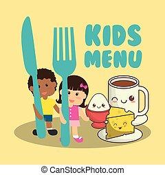 alimento, menu, pequeno almoço, crianças, nutrição